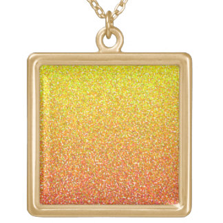 Abstract pattern in red and yellow square pendant necklace