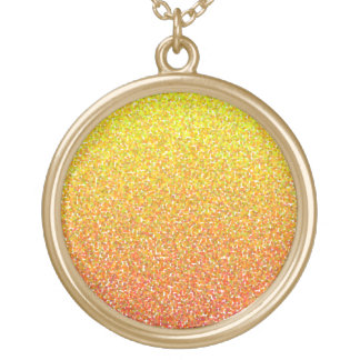 Abstract pattern in red and yellow round pendant necklace