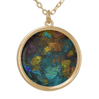 Abstract pattern in teal round pendant necklace