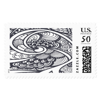Abstract Pattern In Zen-Doodle Style Postage