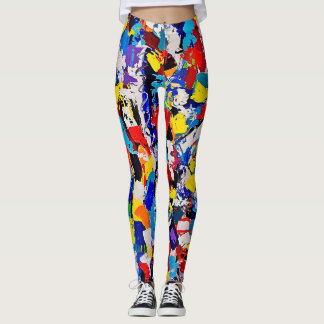 Abstract Pattern Multicolor Colorful Paint Dab Leggings