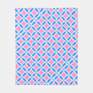 Abstract Pattern of Pink and Blue Squares Fleece Blanket
