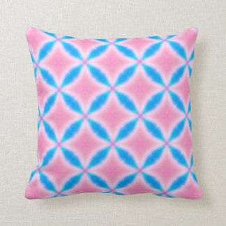 Abstract Pattern of Pink and Blue Squares Throw Pillow