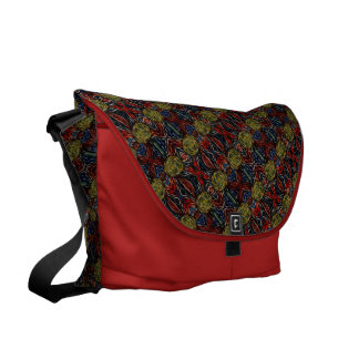 Abstract Pattern On Red Courier Bag