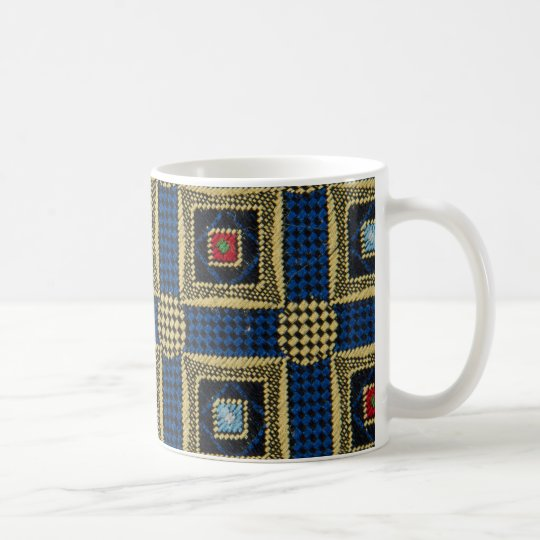 Abstract pattern ornamented textile coffee mug