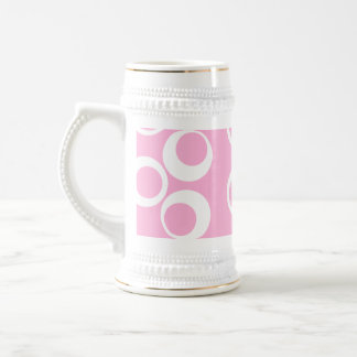 Abstract Pattern. Pink and White. Beer Stein