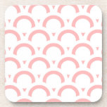 Abstract  pattern - pink and white. beverage coaster