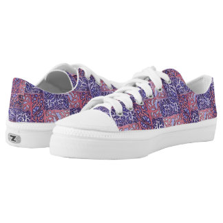 Abstract Pattern Purple and Pink Low-Top Sneakers