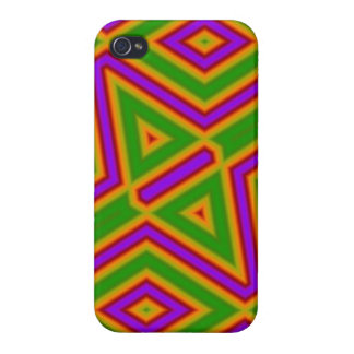 Abstract Pattern purple green Case For iPhone 4