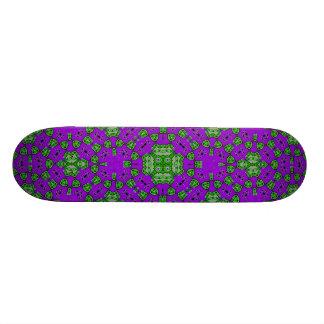 Abstract Pattern Purple Green Skateboard