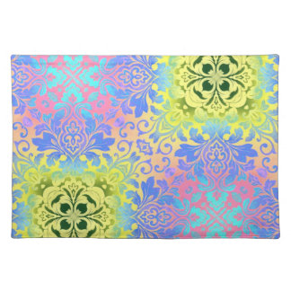 abstract pattern purple turquoise yellow damask cloth place mat