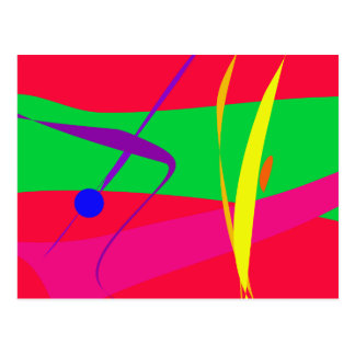 Abstract Pattern Red and Green Contrast Postcard