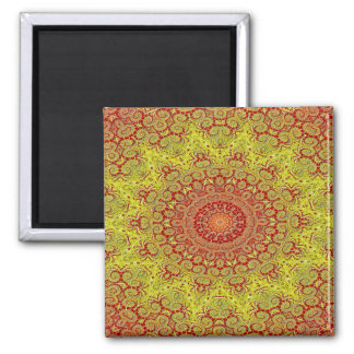 Abstract Pattern Red And Yellow Mosaic Tile Magnet