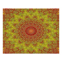 Abstract Pattern Red And Yellow Mosaic Tile Poster