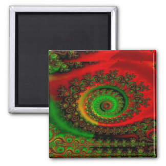 Abstract Pattern Red Green And Yellow Whirl Magnet