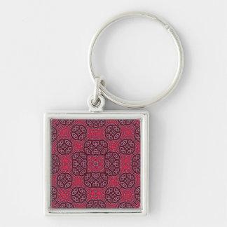 Abstract Pattern red Silver-Colored Square Keychain