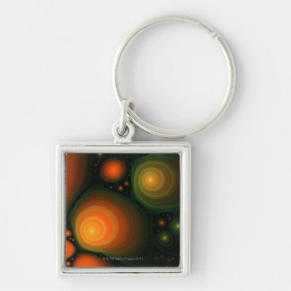 Abstract pattern Silver-Colored square keychain