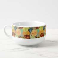 Abstract pattern soup bowl with handle