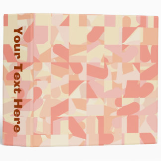 Abstract Pattern Terracotta, Pink & Cream Colors. Binder