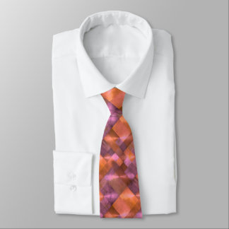 Abstract Pattern Tiles in Orange and Pink Tie