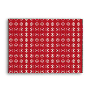 Abstract Pattern White Snow with Red Background Envelope