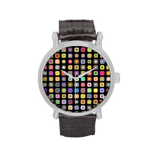 Abstract Pattern with Colorful & Stylish Design Wristwatch