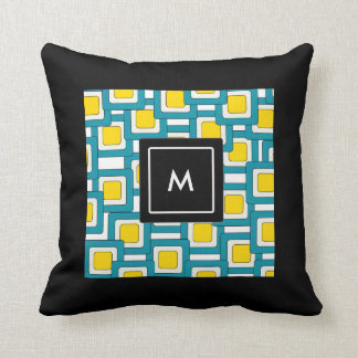 Abstract pattern with Monogram Throw Pillow