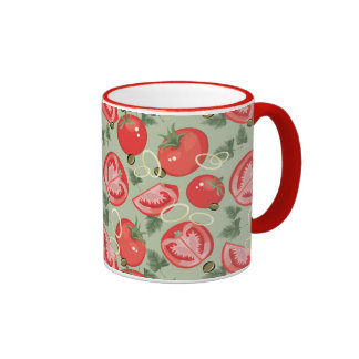Abstract pattern with tomato mug