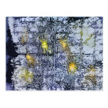 Abstract Pattern with Wax and Ink - Blue Yellow Postcard