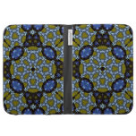 Abstract Pattern yellow blue Kindle Folio Cases