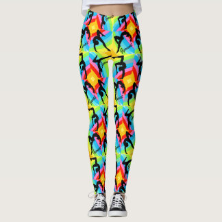 ABSTRACT PATTERNED GYMNASTICS LEGGINGS