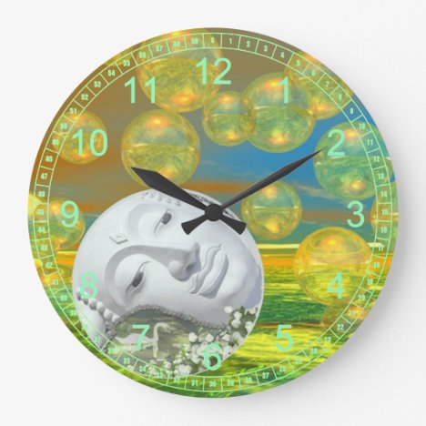 Abstract Peace – Golden and Emerald Serenity Large Clock