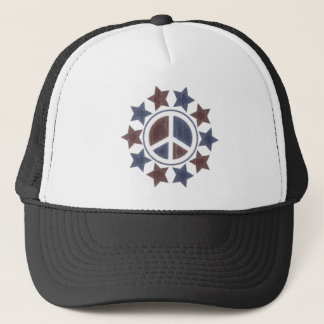 ABSTRACT PEACE SIGN AND STARS TRUCKER HAT