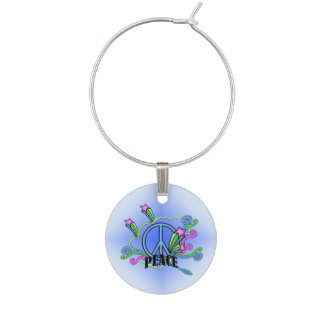 Abstract Peace Sign Stars Scrolls Wine Glass Charm