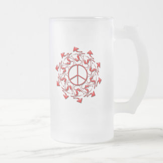 ABSTRACT PEACE SIGN WITH ARROWS FROSTED GLASS BEER MUG