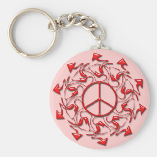 ABSTRACT PEACE SIGN WITH ARROWS KEYCHAIN