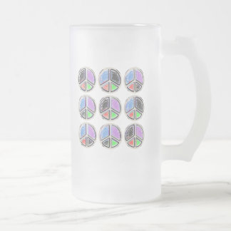Abstract Peace Signs Frosted Glass Beer Mug