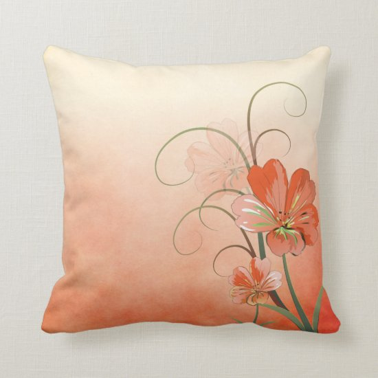 Abstract Peach and Green Floral Throw Pillow