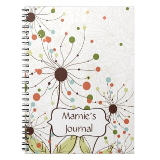 Abstract Peach Brown Green Flowers Customized notebook