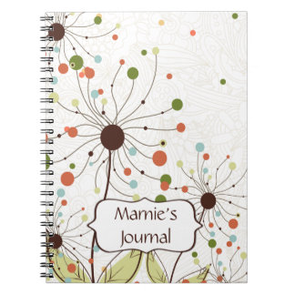Abstract Peach Brown Green Flowers Customized Spiral Notebook