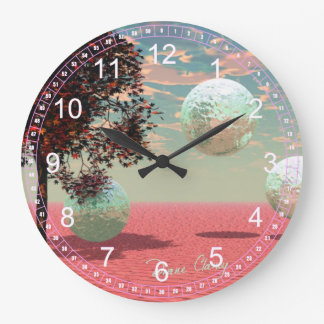 Abstract Peach Fantasy – Teal and Apricot Retreat Wall Clocks