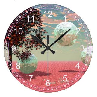 Abstract Peach Fantasy – Teal and Apricot Retreat Wall Clocks