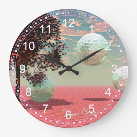 Abstract Peach Fantasy – Teal and Apricot Retreat Large Clock