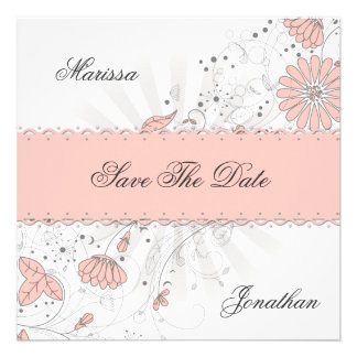Abstract Peach Flowers Gray Sunburst Save The Date Announcements