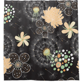 Black And Peach Shower Curtains   Zazzle