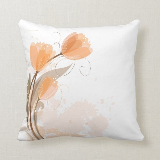 Abstract Peach Watercolor Tulips Throw Pillows