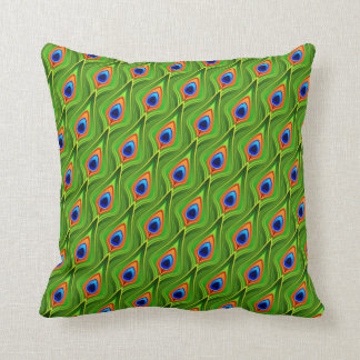 Abstract peackock pattern throw pillow