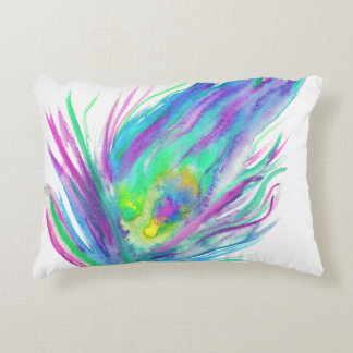 Abstract peacock feather bright watercolor paint accent pillow