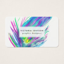 Abstract peacock feather bright watercolor paint business card