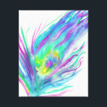 "Abstract peacock feather bright watercolor paint canvas print<br><div class=""desc"">Love birds? Get this pretty,  cool and abstract watercolor peacock feather,  hand painted featuring modern and colorful bright purple,  blue,  peacock,  blue,  yellow and turquoise color.  Perfect beautiful gift for anyone who loves nature,  abstract watercolor painting and trendy bright colors.</div>"